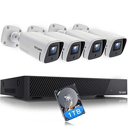 TOGUARD 5MP Kit de Cámara de Vigilancia PoE, con 4X 1920P Cámaras IP Exterior y 8CH NVR con 1TB Disco Duro, Visión Nocturna, Detección de Movimiento, Alerta de Correo Electrónico, Acceso Remoto