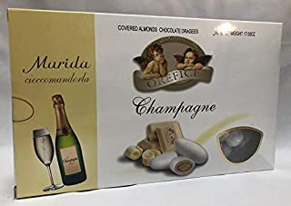 Flavored Italian imported Confetti candy covered almonds chocolate dragee CHAMPAGNE flavor for wedding, baptism Orefice 1.1LB - 500 grams GLUTEN FREE