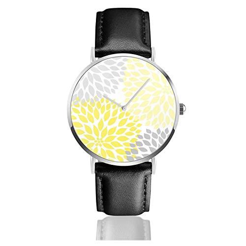 Reloj de pulsera minimalista de cuarzo moderno amarillo y gris Dahlia Square Wall Art correa de cuero reloj
