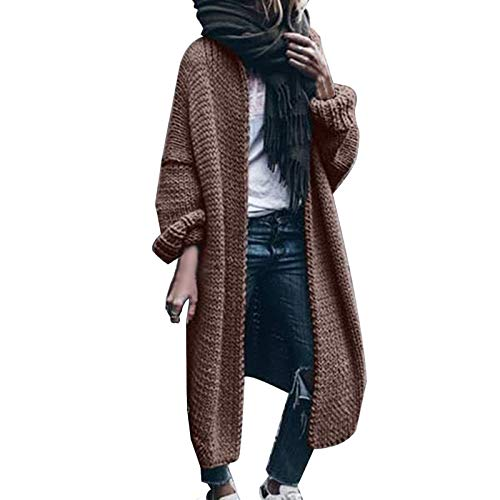 Mllkcao Coats for Women Long Sleeve Pure Color Loose Long Sweater Cardigan Hooded Outwear Brown