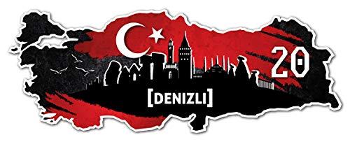 Aufkleber Sticker Türkei 20 Denizli Motiv Fahne für Auto Motorrad Laptop Fahrrad