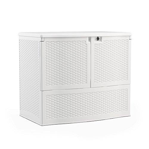 Suncast 195-Gallon Large Deck Box Entertaining Station - Lightweight Resin Indoor/Outdoor Storage Container and Seat for Patio Cushions, Gardening Tools and Toys - Store Items on Patio, Garage, Yard - White