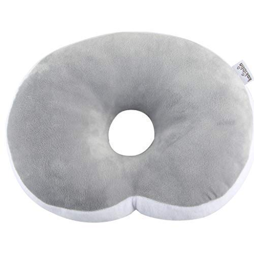 Anti Flat Head Baby Pillow, KAKIBLIN Head Shaping Pillow for Infants Soft Head Support Pillow for 0-1 Year Old, Grey