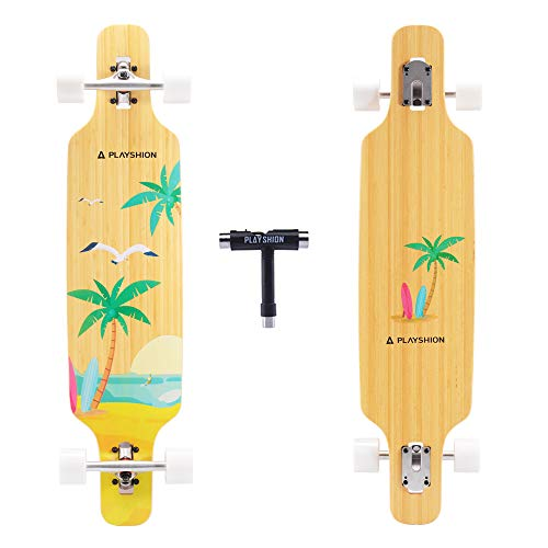 Playshion 39 Inch Drop Through Freestyle Longboard Skateboard Cruiser...