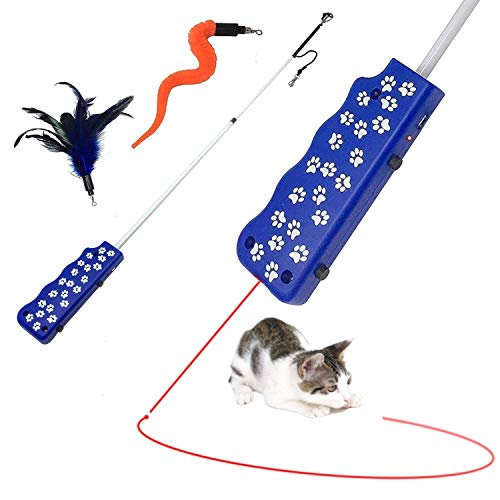 Pet Fit For Life Rechargeable Pointer Light Chaser Cat Feather Teaser Toy and Interactive Squiggly Worm Kitten Wand Combo W/Bird Chirping Call to Action