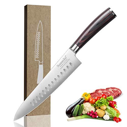 Sunnecko Kochmesser 21,5cm Küchenmesser Allzweckmesser Messer scharf aus Deutsches Edelstahl Messer Küche mit Ergonomischem Holz Griff