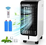 COSTWAY Evaporative Cooler, 4-in-1 Portable Cooling, Fan, Humidifier, Air Flow 246.6 CFM, with 3 Modes, 3 Speeds, 8H Timer, Electric Air Cooler with LCD Display, Remote, Handle for Home, Office