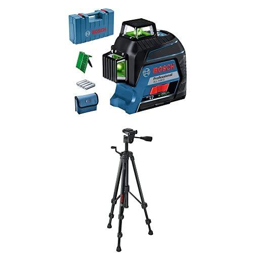 Bosch Professional 0601063Y00 3-80-Nivel GLL 3-80 G (Alcance 30/ 120 m, 3 líneas, láser Verde, en maletín), 1.5 V, Azul y Treppiede a Colonna, TT 150, Negro