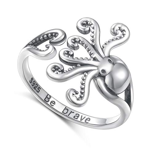 Sea Jewelry S925 Sterling Silver Octopus Ring New Pirate Octopus Tentacles Black Opening Ring Cute Sea Animal Ring for Women,Oxidized ring 9