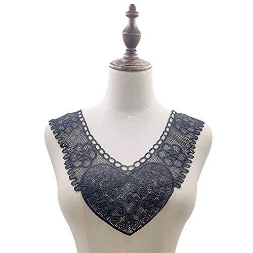 Gxbld-yy Luxus-Weiß Schwarz Lösliche Spitzenkragen gestickter Corsage Trim Nähen Kleid-Kleidung Spitze-Gewebe-DIY for Hochzeitsschmuck (Farbe : Schwarz)