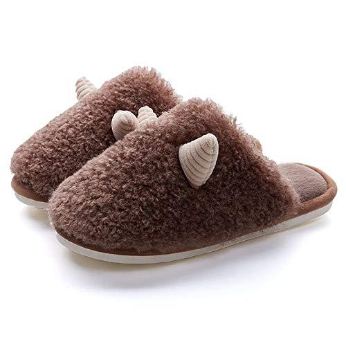 XZDNYDHGX Niño Peluche Invierno Pantuflas,Horn Plush Couple Zapatillas de algodón Zapatos para el hogar, Zapatos de Suela Gruesa cálidos para Interiores Mujeres Marrón EU 43-44