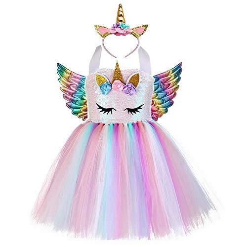 Vestido para niñas con diseño de unicornio y tutú de ballet, flores de arco iris, para bodas, fiestas de Halloween y Navidad