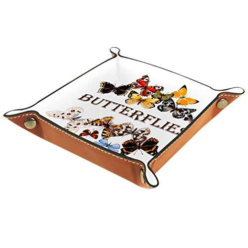 rodde Bandeja de Valet Cuero para Hombres - Hermosas Moscas - Caja de Almacenamiento Escritorio o Aparador Organizador,Captura para Llaves,Teléfono,Billetera,Moneda