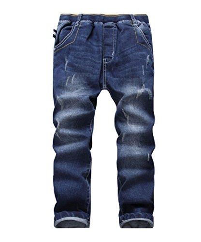 YoungSoul Jungen Jeanshosen - Jeans mit Abschürfungen - Kinder Hose mit elastischem Bund Loose Fit Größe 160 / EU 164