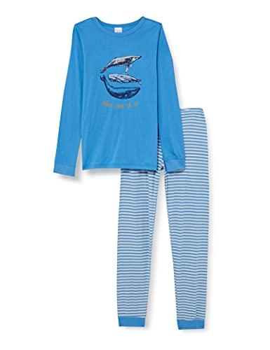 Schiesser Jungen Schlafanzug lang Pyjamaset, blau, 116
