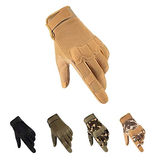 HYCOPROT Full Finger Tactical Gloves, Touch Screen Knuckle Protective Breathable Lightweight Outdoor Military Gloves for Shooting, Hunting, Motorcycling, Climbing (Large, Yellow)