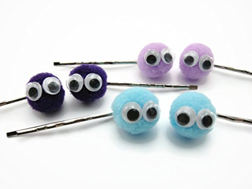 Hair Clip Bobby Pin Girl Accessories Pom Pom Wiggly Googly Eyes Blue 3 pairs