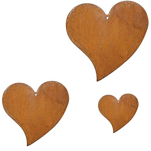 Herz hänger 3er Set 23cm - 15cm zum Hängen Edelrost aus Metall Rost rostige Gartendeko rostige Deko