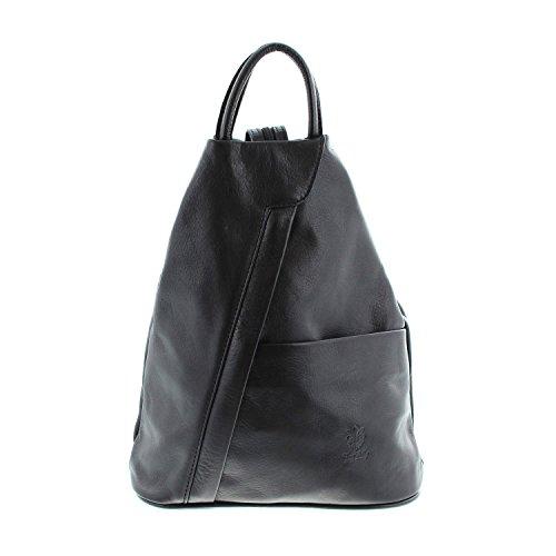IO.IO.MIO leichter echt Leder Damenrucksack CityRucksack DayPack schwarz, 27-18x30x13 cm (B x H x T)