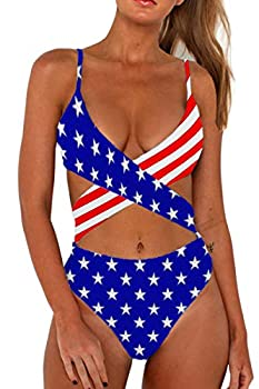 CHYRII Women High Waisted Swimsuits Sexy Push Up Cutout Monokini Backless One Piece Swimsuit American Flag Small