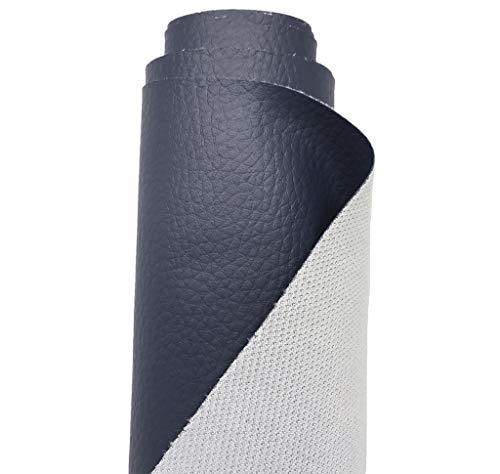 A-Express Strutturato Tessuto Ecopelle Materiale Granulato Morbida Finta Pelle Vinile Materiale - Blu Navy 1 Metro (100cm x 140cm)