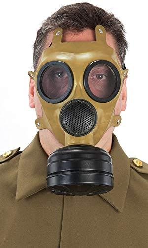 Herren Erwachsene WW2 Braun Gas Maske Halloween Kostüm Zubehör