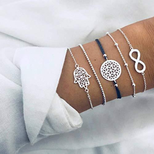 Handcess Pulseras de plata con diseño de mano de Fátima bohemia para siempre, para mujeres y niñas (5 unidades)