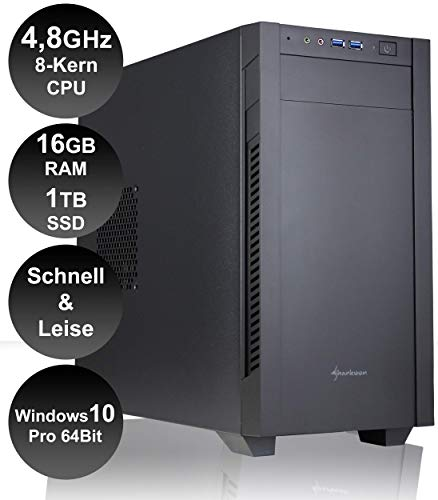 HY High-End/Allrounder PC |Intel Core i7-10700 4,8 GHz 8-Kerne|16 GB RAM DDR-4|1TB SSD|WLAN|Moderne Hardware|Ultra Leise|Schnell|Win 10 Pro 64 Bit