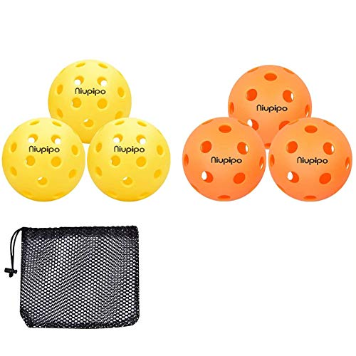 niupipo Indoor and Outdoor Pickleball Balls, Professional Pickleball Balls Set of 3 Indoor Pickleballs and 3 Outdoor Pickleballs, Highly Durable, Maximum Bounce Pop and Precise Flight Path