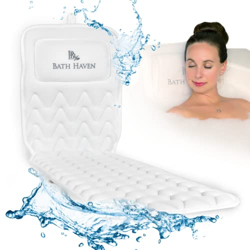 Bath Haven Bath Pillow for Women and Men - Luxury Headrest Cushion for Neck, Back & Head Support -...
