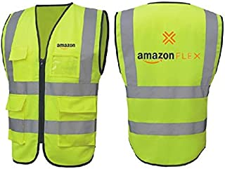 Step ahead bot High Visibility Safety Vest with 2 Pockets,  Color Neon Yellow   Amazon flex logo  (Medium)