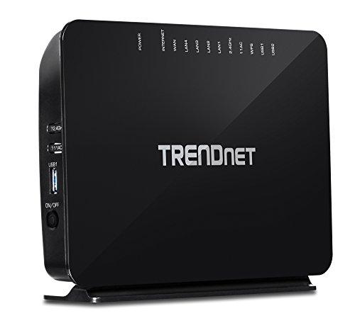 TRENDnet AC750 Wireless VDSL2/ADSL2+ Modem Router, 200 Mbps VDSL Downstream Speeds, USB share ports, TEW-816DRM