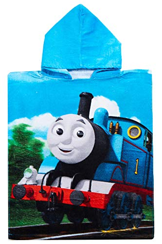 Thomas and Friends Poncho Badeponcho mit Kapuze blau für Kinder, 50 x 115 cm, 100% Baumwolle