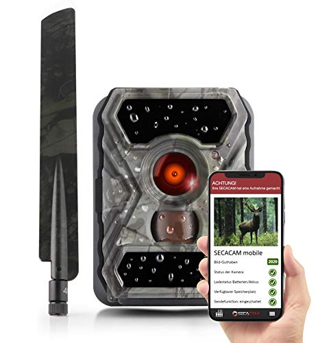 SECACAM Raptor Mobile - Wildkamera mit SIM-Karte sendefähig (4G/LTE, Edge) mit Handy-Übertragung & App (Normalwinkel 52°)