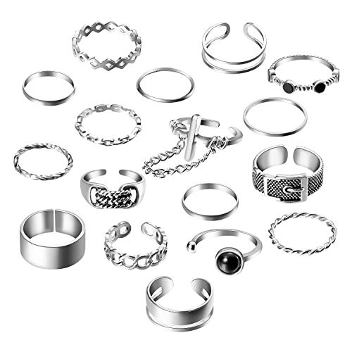 PANTIDE 17Pcs Punk Gothic Rings Set, Vintage Knuckle Rings Set Adjustable Alloy Biker Obsidian Chain Open Rings, Stackable Hollow Carved Finger Rings Midi Rings Joint Jewelry for Women Girls (Silver)