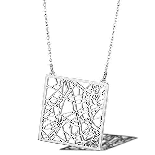 Ccyyy Karte Halskette/Frankreich Paris Stadtplan Halskette/Titan Stahl Halskette weibliche 18K Gold Schlüsselbein Kette,Silber