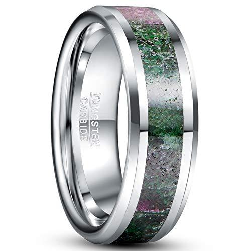 NUNCAD Partner Ring Herren/Damen Silber 8mm mit Rubin Zoisite Wolfram Ring Unisex Hochzeit, Verlobung Partnerschaft, Größe 65 (25)
