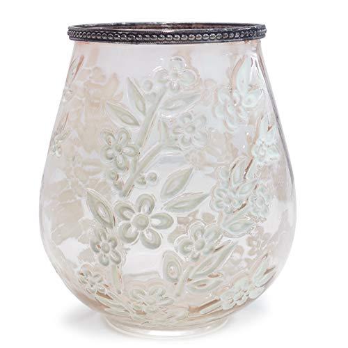 Windlicht Sakura, rosa/weiß, Glas/Metall, 15,5x18,5 cm