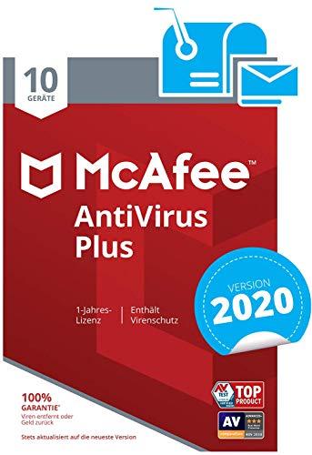 McAfee AntiVirus Plus 2020 | 10 Geräte | 1 Jahr | PC/Mac/Smartphone/Tablet | Aktivierungscode per Post