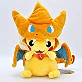 hzx Pokémon Plush Pikachu Toys, with Smiley Face and MEGA Charizard 8.5 Poncho The Best Gift for Children (Yellow)