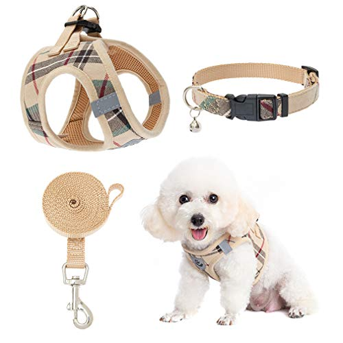 Puppy Harness and Leash - Small Dog Collar and Leash - Classic Plaid Small Dog Vest Harnesses No Pull, Adjustable Escape Proof for Outdoor Walking