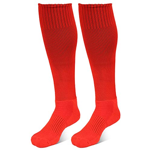 DND Athletic Over The Calf Compression Crew Socks for Mens and Boys - Black/Red/White (Red(2/Pack))