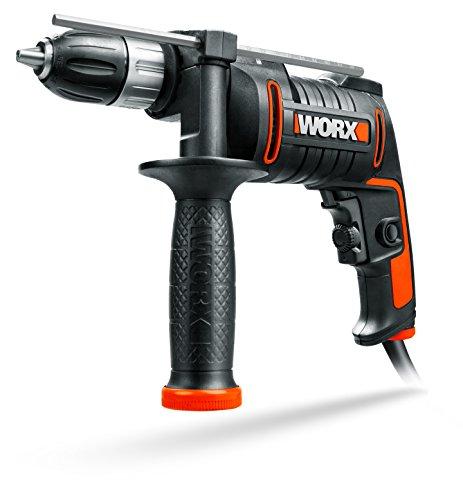 WORX WX klopboormachine toerentalregeling, diepteaanslag, gereedschaploze boorhouder boren in hout, beton & staal 600 W. 600 W zwart, oranje