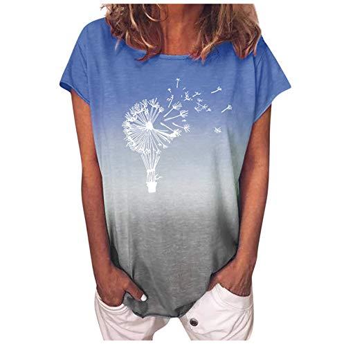 Damen Tshirt Kurzarm Sommer Oberteile Tie Dye Tops Elegant Basic Shirt Lose Rundhals Sweatshirt Löwenzahn Drucken Pullover Bluse Casual Hemd Tunic Tunika Teenager Mädchen Frauen