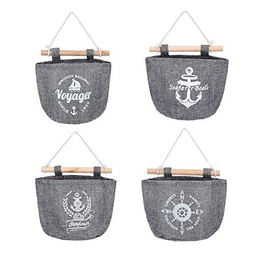 Voarge 4 Stück Wand Hängeorganizer Wandtaschen Baumwolle Aufbewahrungstasche, Navy Stil Baumwolltasche für Schlafzimmer Büro Badezimmer 21 * 16cm (Grau)