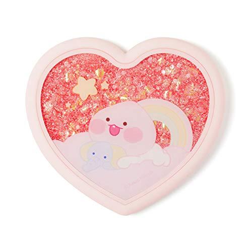 KAKAO FRIENDS - Kleiner Taschenspiegel in Herzform mit fließendem funkelndem Glitzer in Flüssigkeit für Make-up, Kosmetik (Little Apeach)