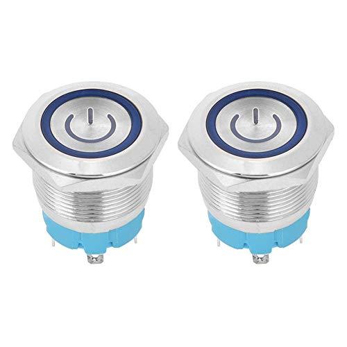 2 pezzi 4 pin IP65 22 mm 220 V AC impermeabile LED rosso interruttore a pulsante momentaneo testa piatta auto reset (blu)