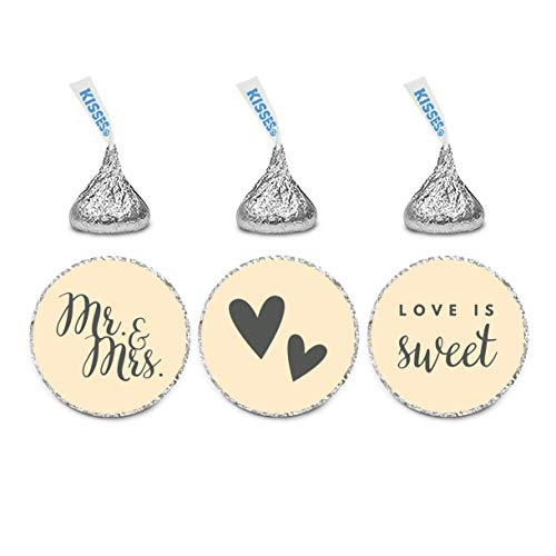Andaz Press Chocolate Drop Labels Trio, Fits Kisses, Wedding Mr. & Mrs, Ivory, 216-Pack, for Bridal Shower, Engagement Party Favors, Gifts, Stationery, Envelopes, Decor, Decorations