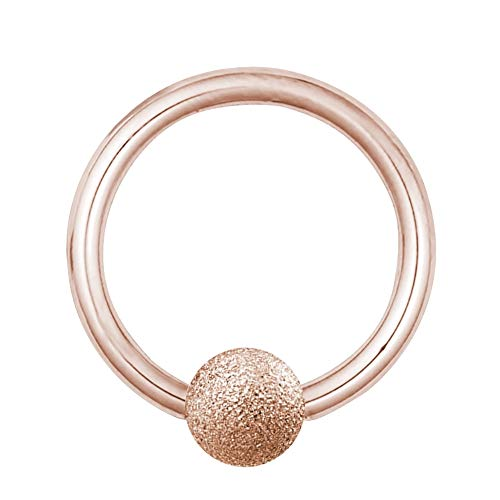 Treuheld®   Klemmkugelring Piercing/BCR Ring aus Chirurgenstahl   1,2mm x 10mm und Kugel: 3mm   Roségold   Bauchnabelpiercing/Ohr Piercing Ring