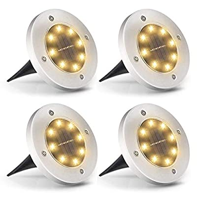 Solar Ground Lights, 8 LED Waterproof Solar Lights Outdoor, FREECUBE In-Ground Solar Garden Lights Disk Landscape Outdoor Lighting, Bright Warm White LED Lights for Lawn Pathway Yard Driveway, 4 Pack